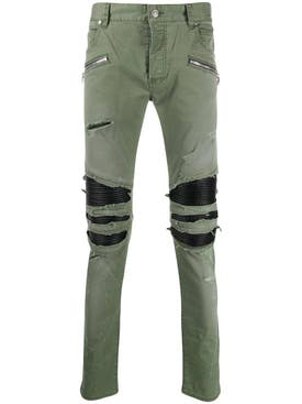Balmain - Distressed Khaki Green Pants - Men