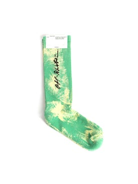 Off-white - Tie Dye Cursive Logo Socks Light Green - Women