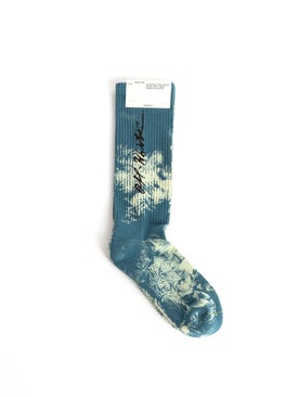 Off-white - Tie Dye Cursive Logo Socks Gasoline Blue - Women