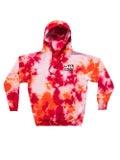 Livincool - Orange And Red Tie Dye Hoodie - Men