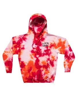 Livincool - Orange And Red Tie Dye Hoodie - Men