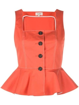 Elba button peplum top ORANGE