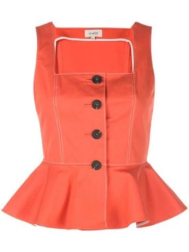 Isa Arfen - Elba Button Peplum Top Orange - Women