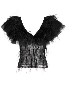 Johanna Ortiz - Feather Trim Sheer Blouse - Blouses