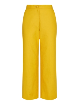 yellow wide-leg trousers