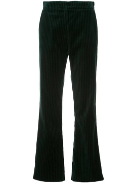 green tailored velvet pants