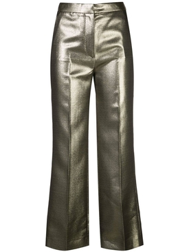metallic high-waisted trousers