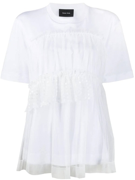 White tulle layered t-shirt