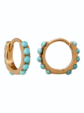 Mini turquoise hoop earrings