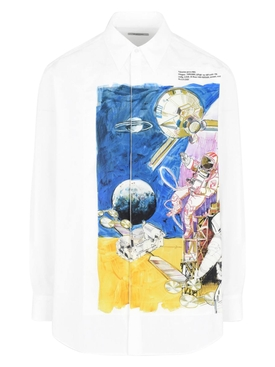 Space print buttoned shirt MULTICOLOR