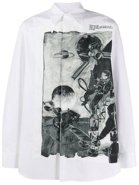 Space print buttoned shirt WHITE