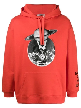Red space graphic hoodie