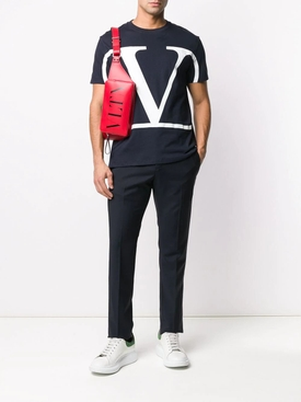 STRIPE PANEL TAILORED TROUSERS BLACK & RED