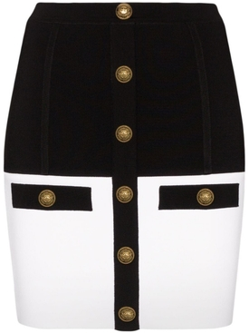 Black and white knit mini skirt