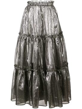 ruffle details metallic skirt Silver