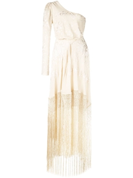 fringed one shoulder dress Neutral