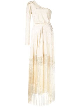 Johanna Ortiz - Fringed One Shoulder Dress Neutral - Women