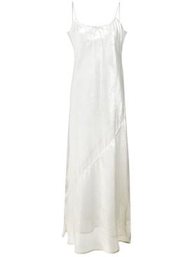 side slit sheer slip dress White