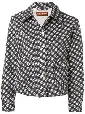checked fitted jacket BLACK & WHITE
