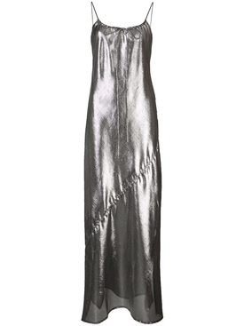 side slit sheer slip dress SILVER