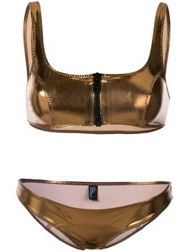 zipped detail bikini set