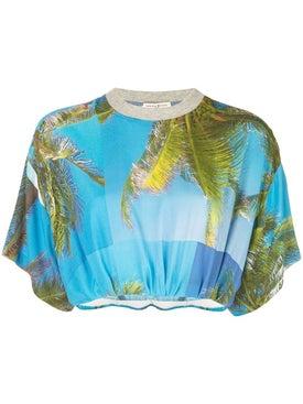 Natasha Zinko - Palm Trees Cropped Top - T-shirts