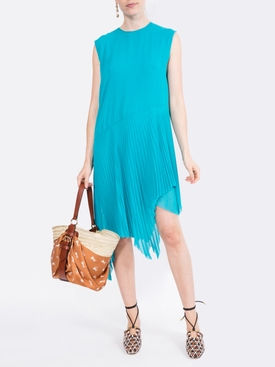 asymmetric PLISSE dress TURQUOISE