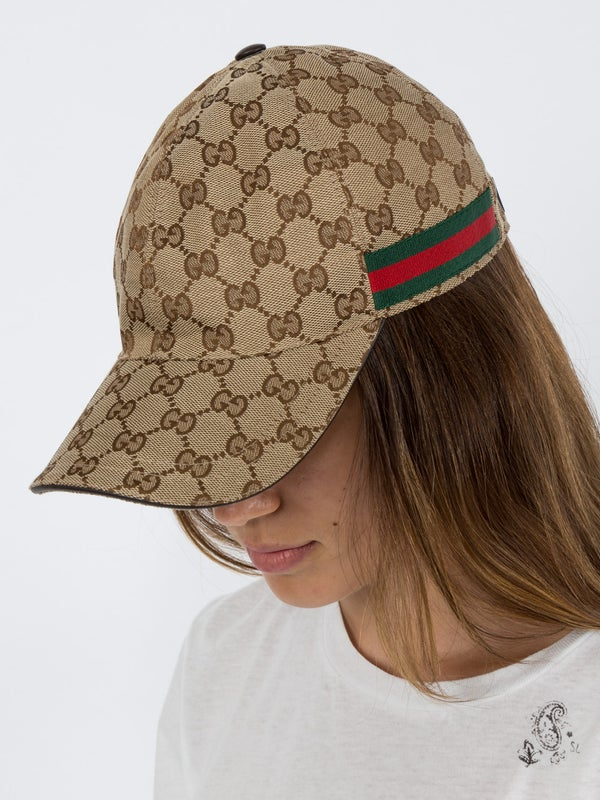 53703497e Original GG canvas baseball hat with Web BEIGE