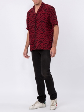 red and black animal print shirt