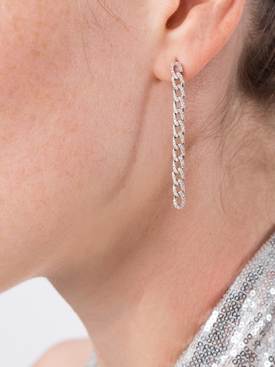 Diamond Chain Link Earrings White Gold