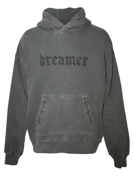 Amiri - Dreamer Distressed Studded Hoodie Grey - Men