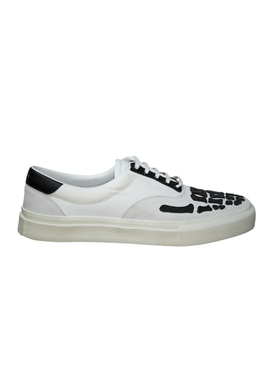 Skeleton Toe Lace Up Sneakers WHITE & BLACK