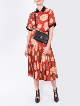 Pleated print skirt RED