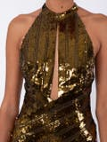 Galvan - Gold Halterneck Evening Dress - Women