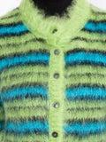 Marni - Green And Blue Fuzzy Striped Cardigan - Women