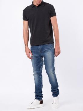 cotton and cashmere logo polo shirt BLACK