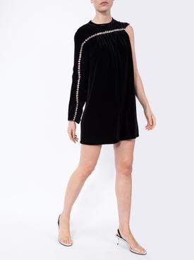 crystal sleeve velvet dress