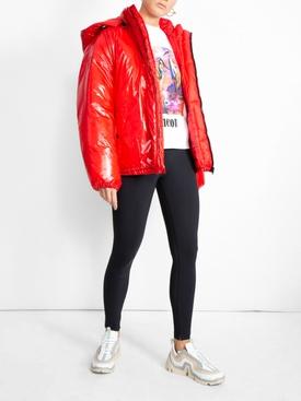 front logo multi zip puffer jacket