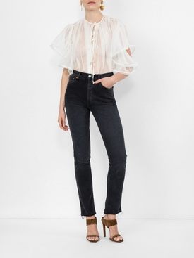 ruffle sleeves sheer top