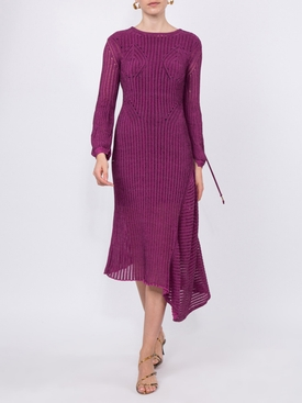 backless ribbed detail knitted silk midi dress