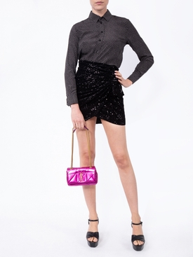 sequinned draped mini skirt