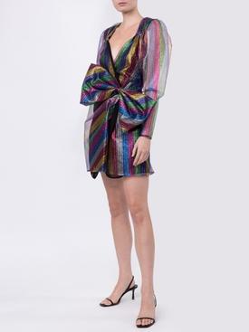 bow detail multicolored mini dress