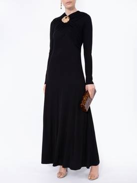 Black draped crepe dress