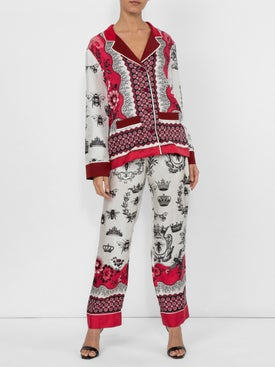 For Restless Sleepers - Printed Palazzo Trousers - Sleepwear