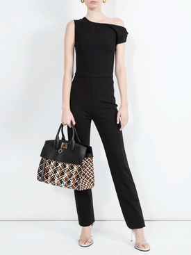 One shoulder twist jumpsuit BLACK