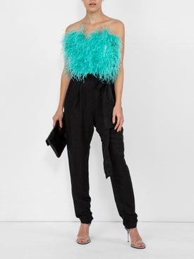 Attico - Ostrich Feather Cropped Bustier - Women