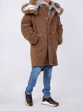 brown double layered parka