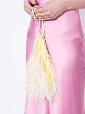 feather-trim tote bag YELLOW