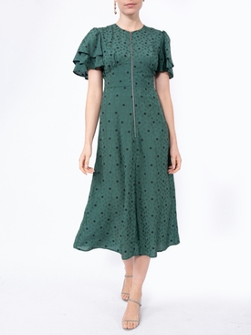 Green flower print midi-dress