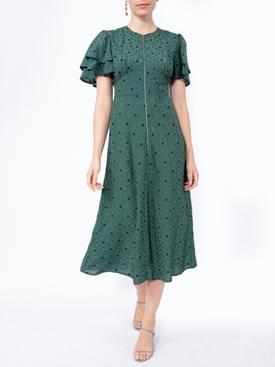 Green flower print midi-dress